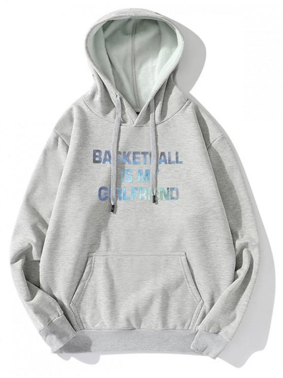 shops Letter Graphic Print Casual Fleece Hoodie - GRAY L