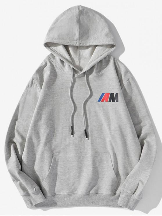 online Pouch Pocket Letter Print Drawstring Hoodie - GRAY 2XL