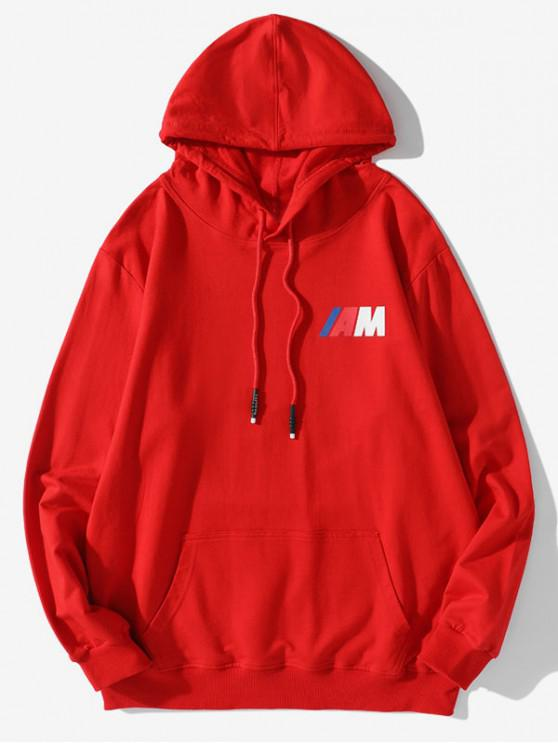 outfits Pouch Pocket Letter Print Drawstring Hoodie - RED 2XL