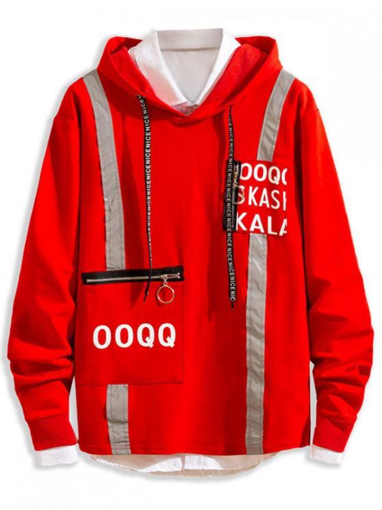 Reflektierende Buchstabemuster Reißverschluss Tasche Lässiges Hoodie - Rot S
