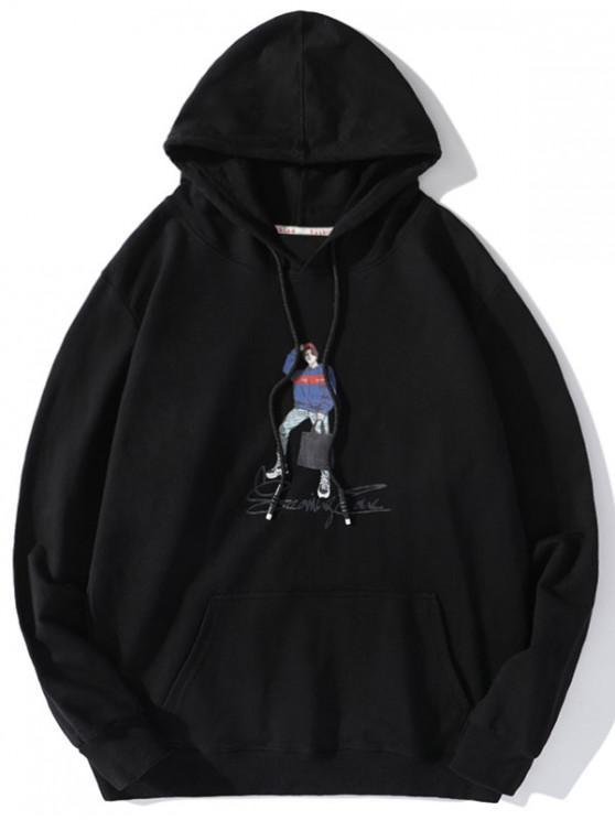 trendy Letter Character Men Print Drawstring Hoodie - BLACK 2XL