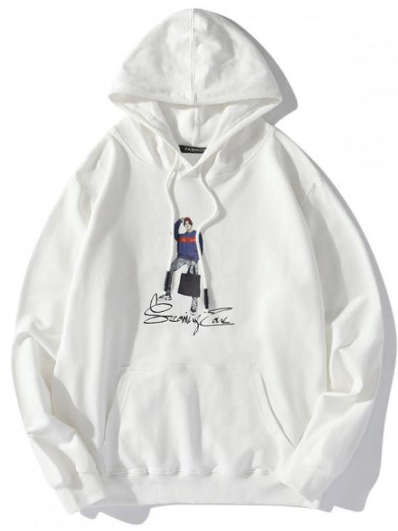 womens Letter Character Men Print Drawstring Hoodie - WHITE 2XL