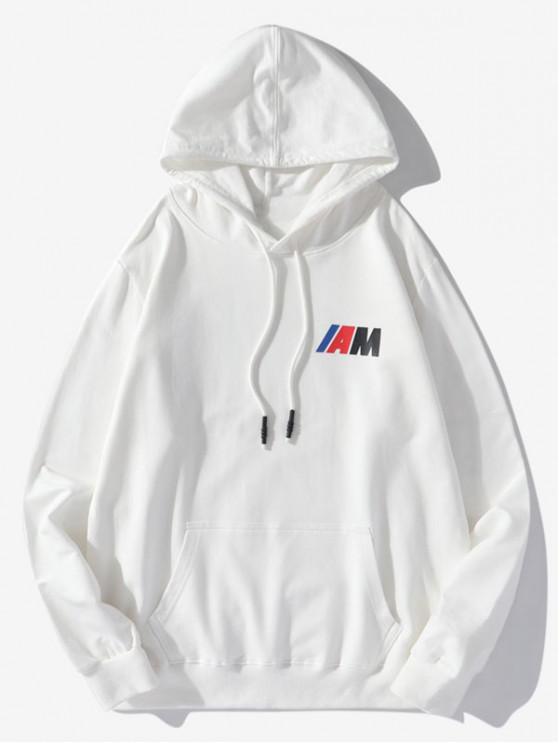 buy Pouch Pocket Letter Print Drawstring Hoodie - WHITE M