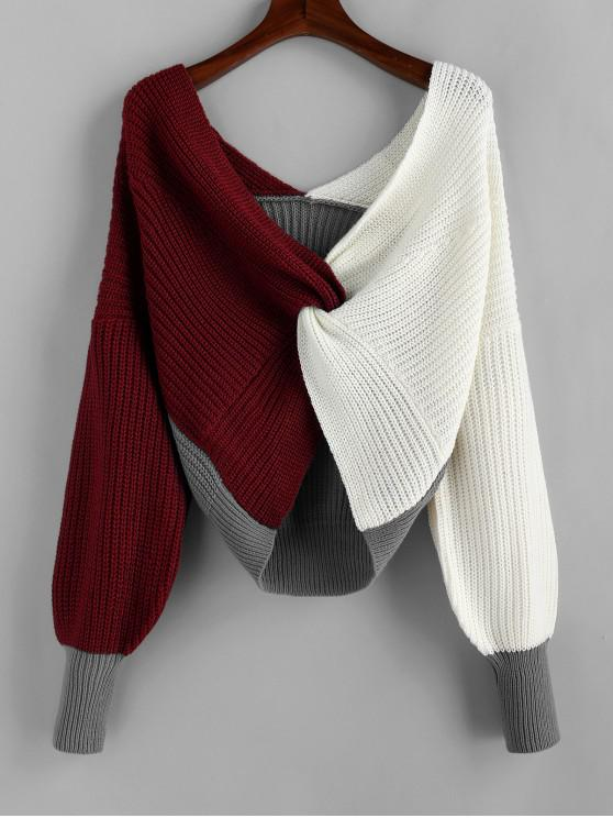 lady Plunge Colorblock Twist Sweater - MULTI-B L