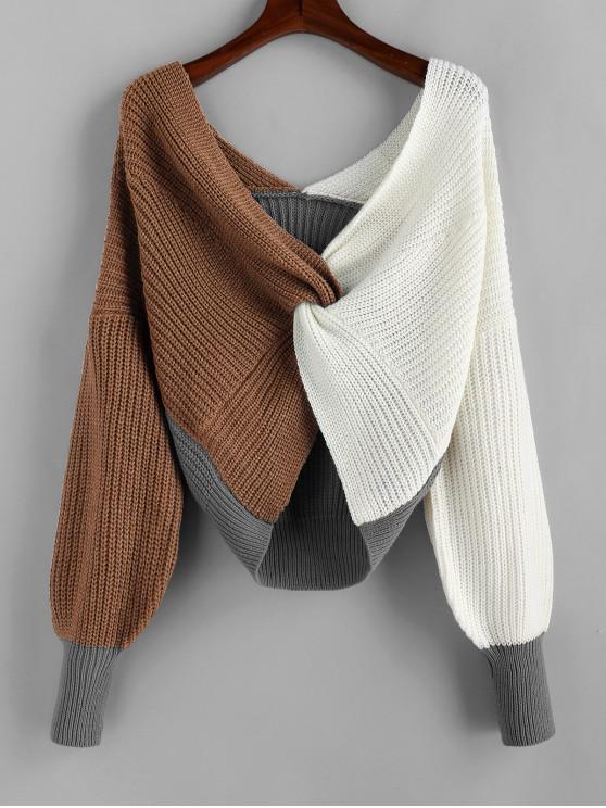 outfits Plunge Colorblock Twist Sweater - MULTI-D L