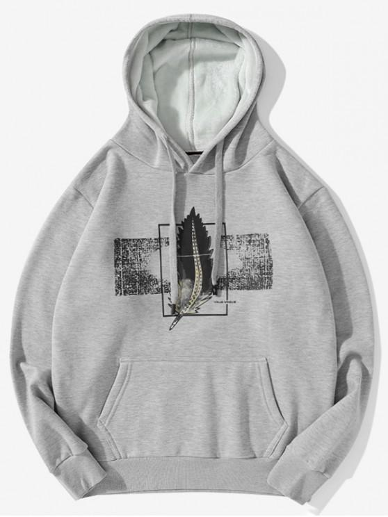 shops Feather Graphic Print Casual Drawstring Fleece Hoodie - LIGHT GRAY 2XL