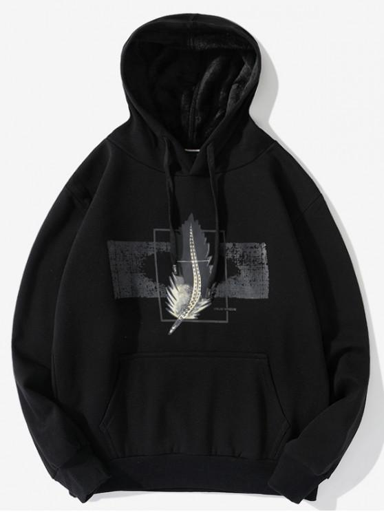 chic Feather Graphic Print Casual Drawstring Fleece Hoodie - BLACK 2XL