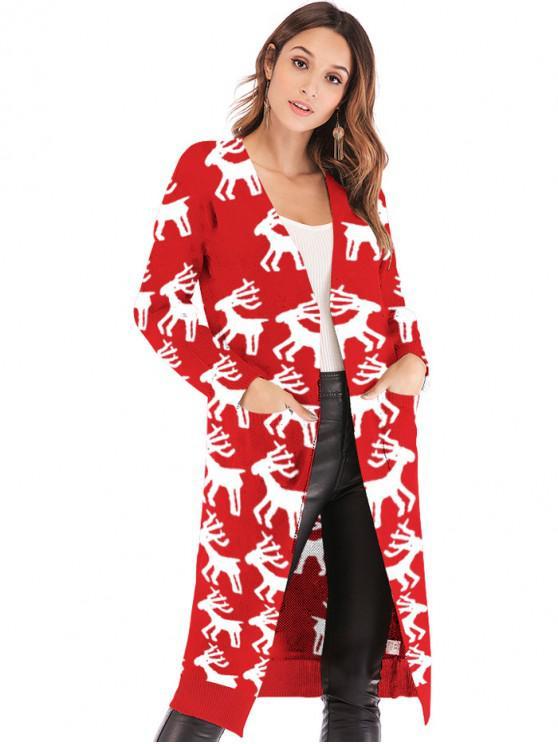 Cardigan Long Cerf de Noël Graphique Ouvert avec Poche - Rouge M