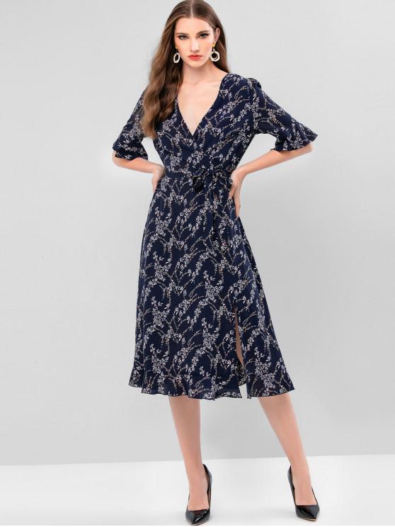 ladies ZAFUL Leaf Print Surplice Belted Flounce Midi Dress - DARK SLATE BLUE XL