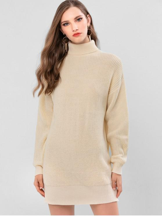buy ZAFUL Turtleneck Drop Shoulder Tunic Sweater Dress - WARM WHITE ONE SIZE