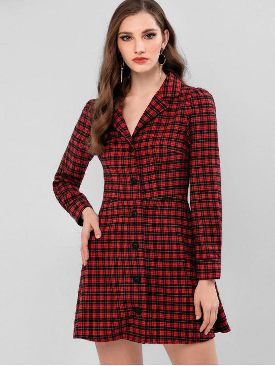 lady ZAFUL Button Up Plaid Mini Lapel Dress - RED WINE L