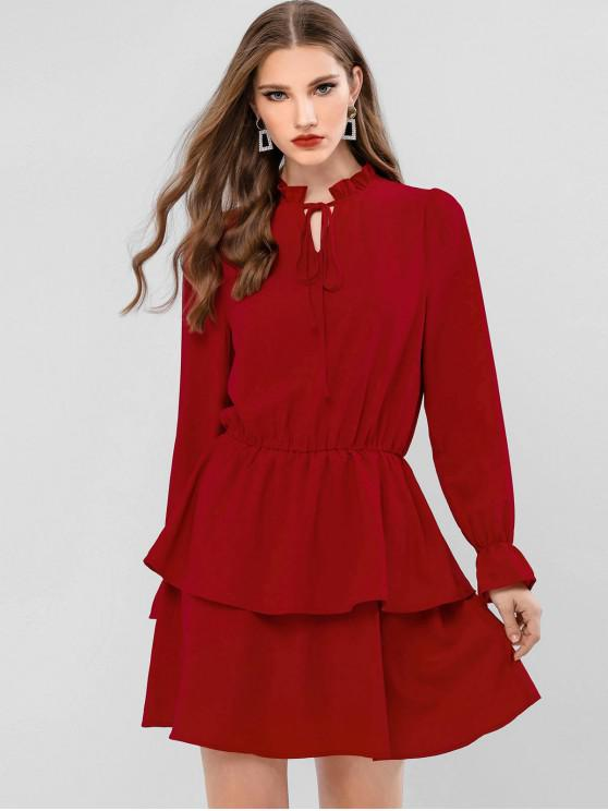 womens ZAFUL Tie Ruffled Long Sleeve Dress - CHESTNUT M