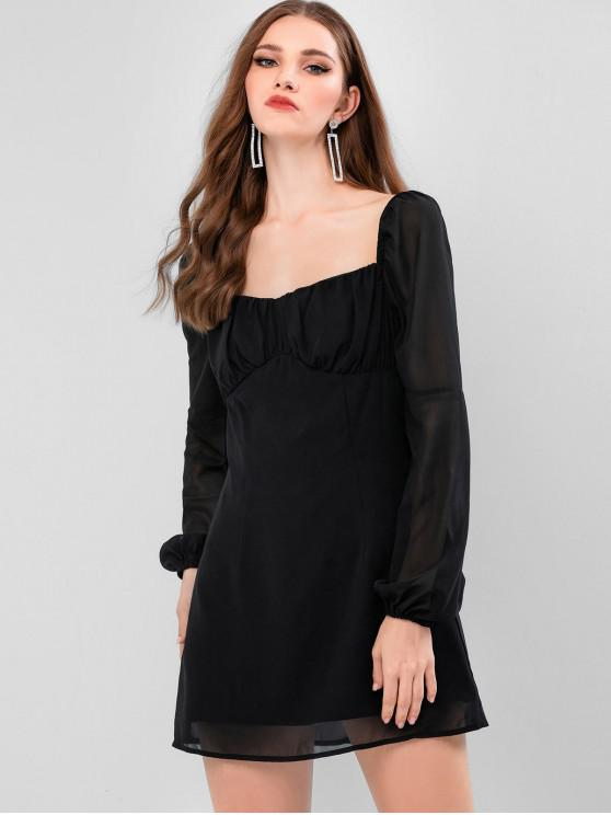lady ZAFUL Back Zipper Long Sleeve Sweetheart Mini Dress - BLACK S