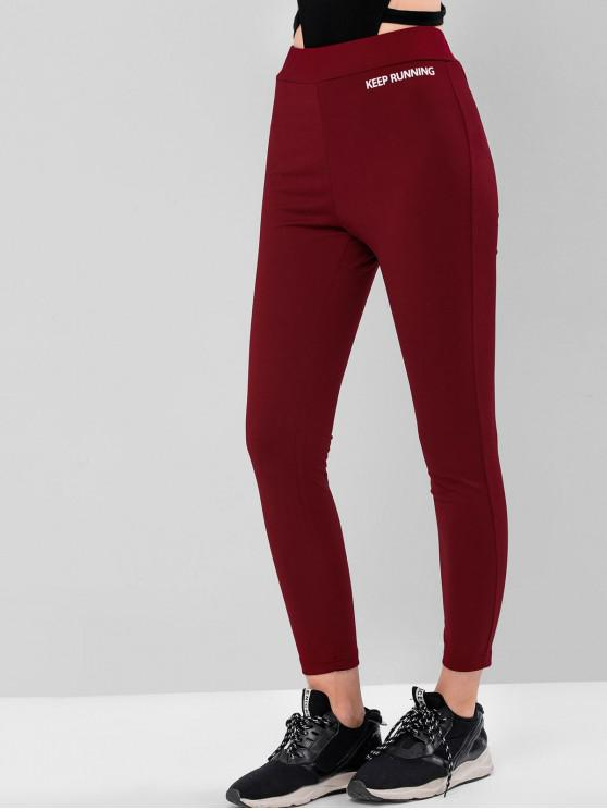 chic ZAFUL Keep Running High Waisted Gym Leggings - RED WINE S