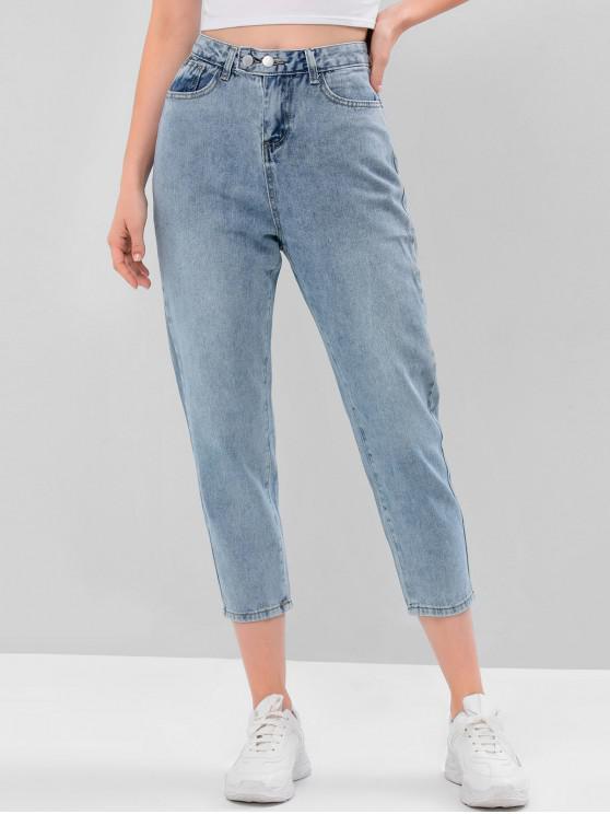 shops Zipper Fly Five Pockets Boyfriend Jeans - BLUE S