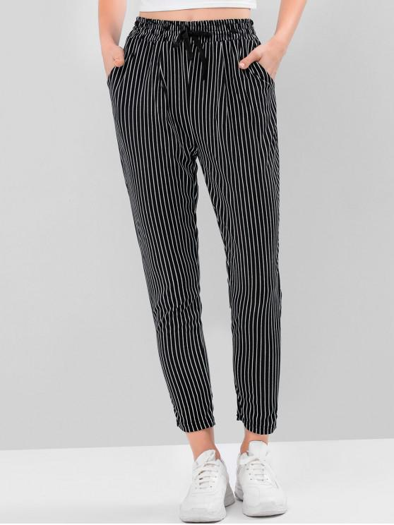 chic Striped Checked High Waist Drawstring Pants - MULTI-A M