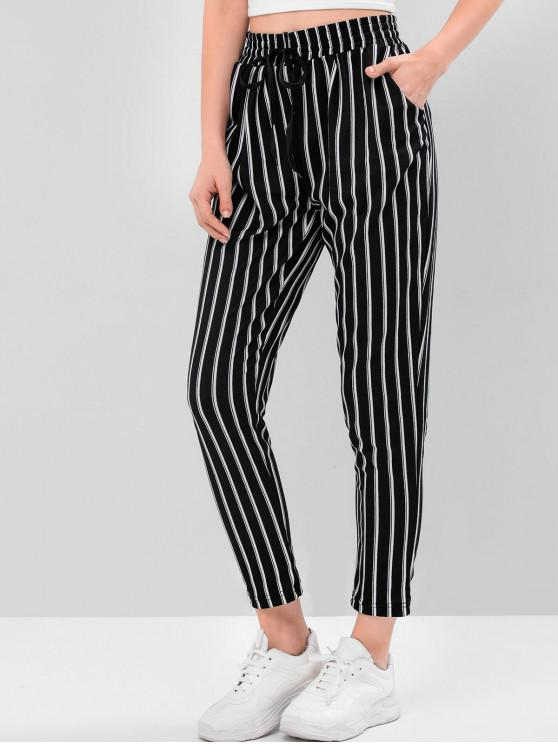affordable Striped Checked High Waist Drawstring Pants - MULTI-B L