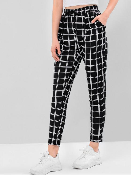 women Striped Checked High Waist Drawstring Pants - MULTI-C L