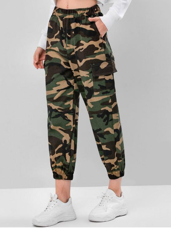 ladies Camouflage Pockets High Waist Jogger Pants - ACU CAMOUFLAGE M