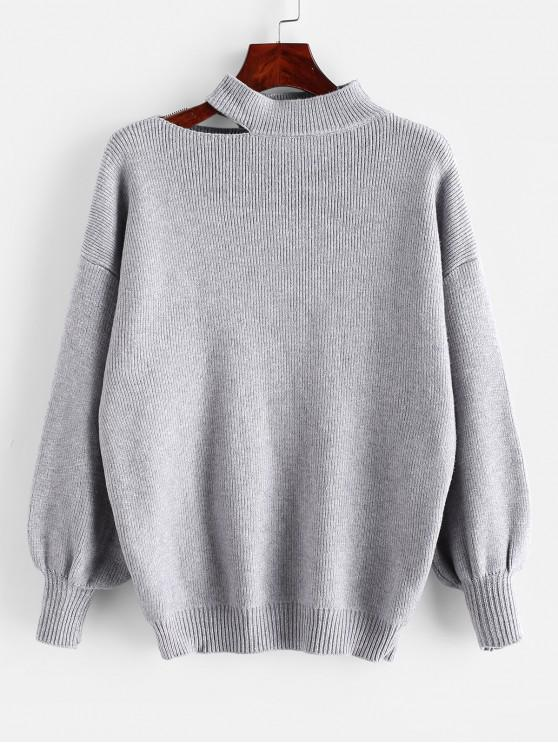womens Cutout High Neck Drop Shoulder Sweater - GRAY ONE SIZE