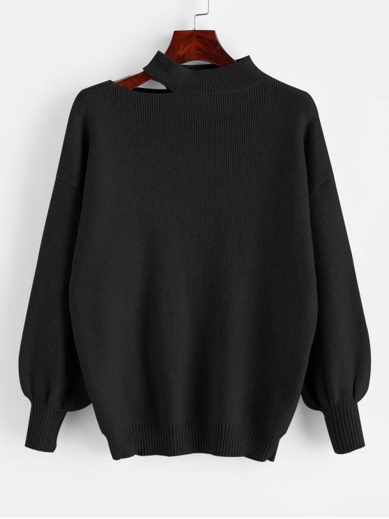 women's Cutout High Neck Drop Shoulder Sweater - BLACK ONE SIZE