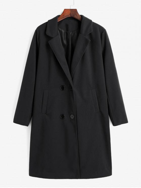 unique Double Breasted Pocket Trench Coat - BLACK M