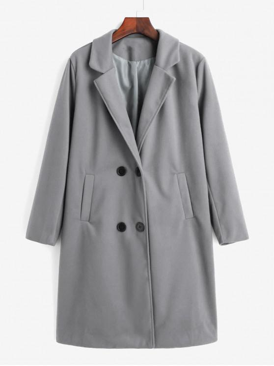 online Double Breasted Pocket Trench Coat - GRAY L