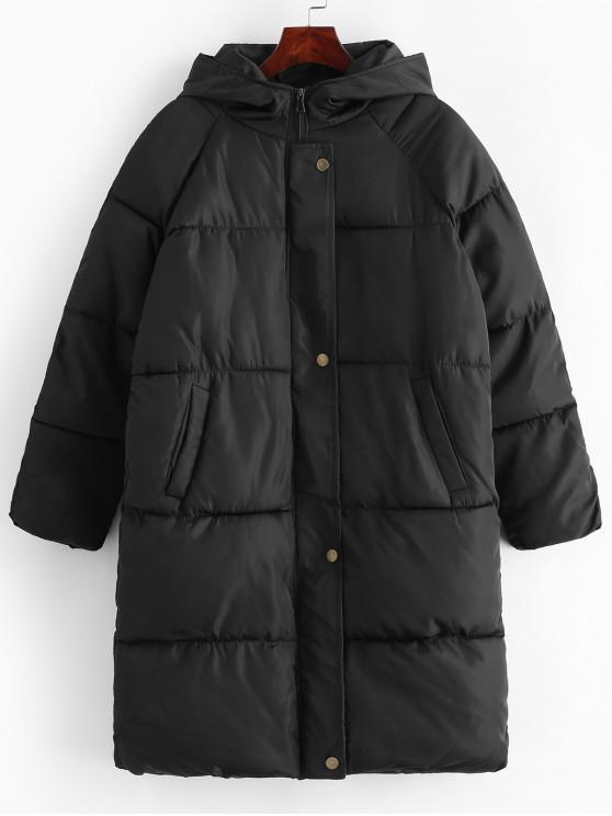 best Quilted Hooded Raglan Sleeve Longline Coat - BLACK S