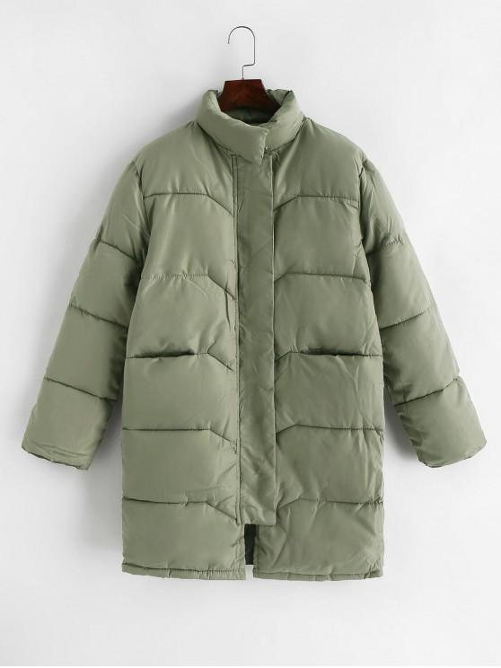 sale Quilted Pocket Longline Coat - ARMY GREEN XL