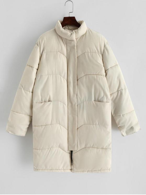 buy Quilted Pocket Longline Coat - WHITE S