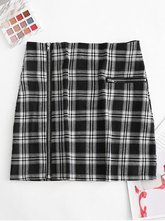 outfit Full Zip Plaid Zippered Pocket Mini Skirt - BLACK L