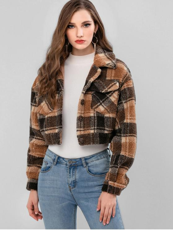sale ZAFUL Plaid Faux Shearling Pocket Fluffy Teddy Coat - CARAMEL L