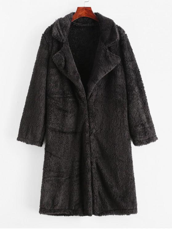 35 Off 2020 Turndown Collar Fluffy Longline Teddy Coat