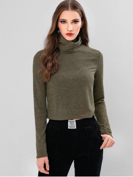 trendy ZAFUL Turtleneck Boxy Knit Sweater - FERN GREEN M