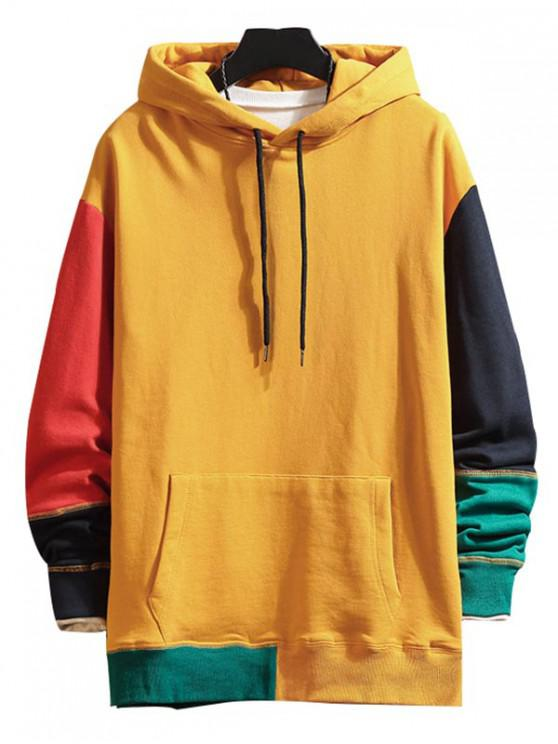 shops Colorblock Spliced Stitching Drawstring Hoodie - YELLOW 4XL