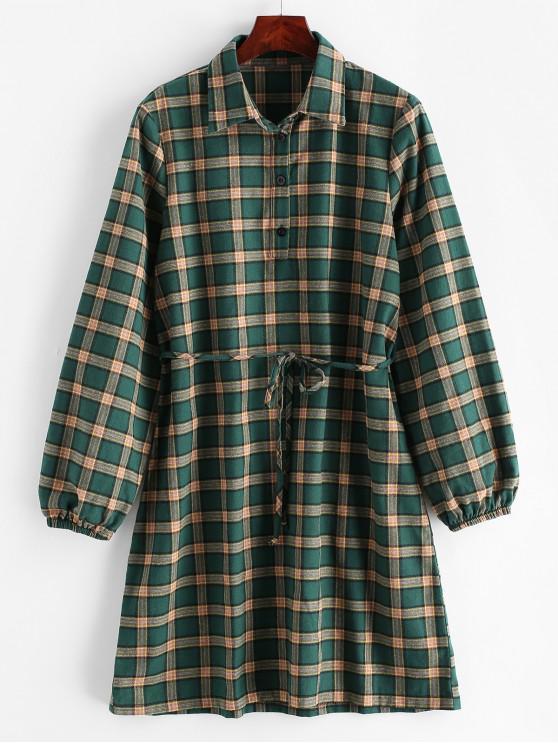 fashion ZAFUL Plaid Belted Button Placket Dress - MULTI M