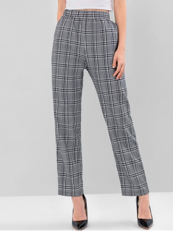 outfits ZAFUL Plaid High Waist Straight Pants - BLACK S