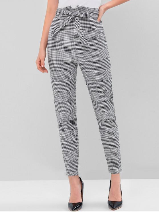 fancy Belted Notched Waist Plaid Pencil Pants - MULTI L
