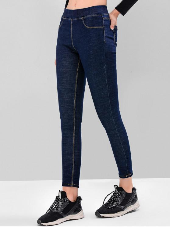 fancy Basic Dark Wash Skinny Jeans - DEEP BLUE L
