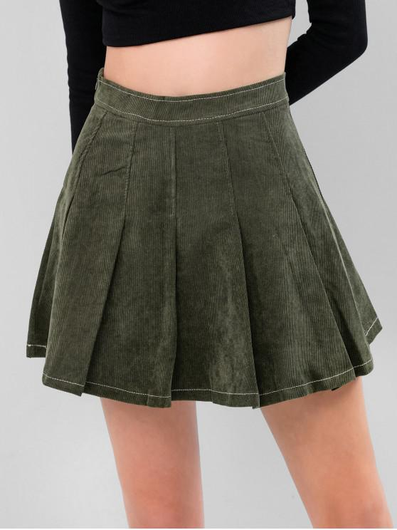 unique Corduroy Pleated Skirt - ARMY GREEN S