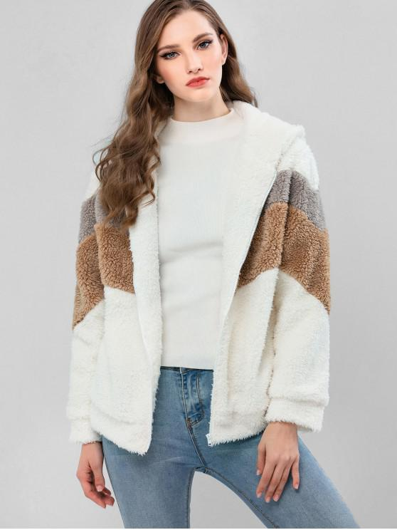 online ZAFUL Colorblock Zip Front Fluffy Faux Shearling Jacket - WHITE M