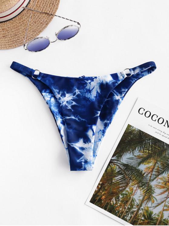 affordable ZAFUL O Ring Tie Dye High Cut Bikini Bottom - COBALT BLUE L