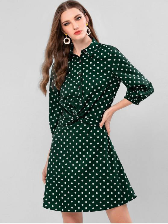online Twist Front Half Buttoned Polka Dot Mini Dress - DEEP GREEN M