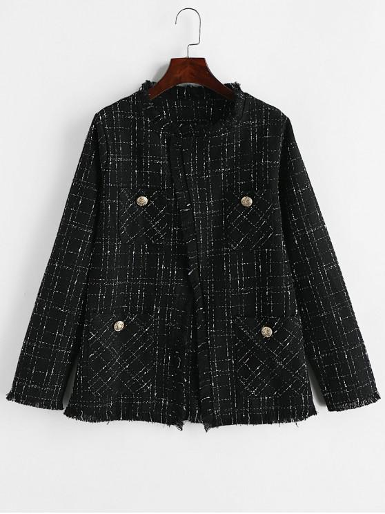 online Tweed Pocket Open Front Fringed Coat - BLACK S