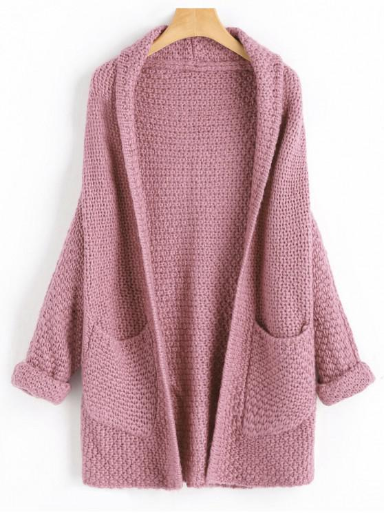 shops Curled Sleeve Batwing Open Front Cardigan - ROSE ONE SIZE