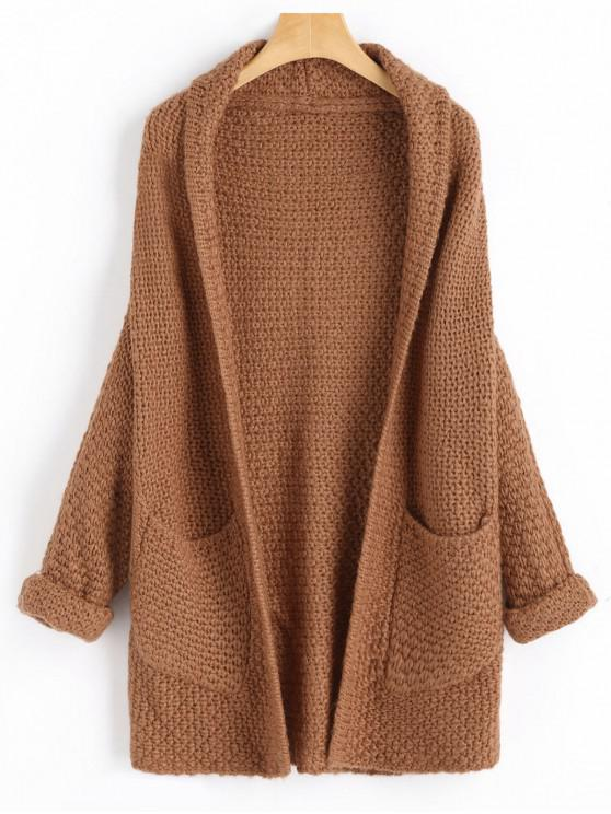 chic Curled Sleeve Batwing Open Front Cardigan - CAMEL BROWN ONE SIZE