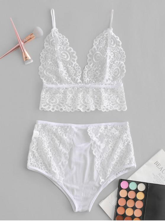 affordable Cut Out Sheer Lace Bra Set - WHITE M