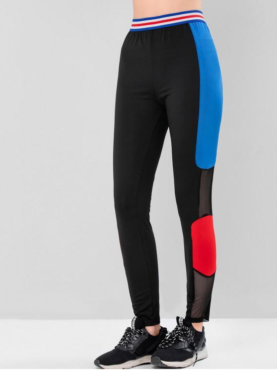 chic Color-blocking Mesh Panel High Rise Gym Leggings - BLACK S