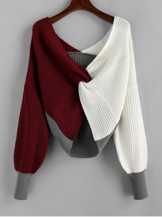 ladies Plunge Colorblock Twist Sweater - MULTI-B M