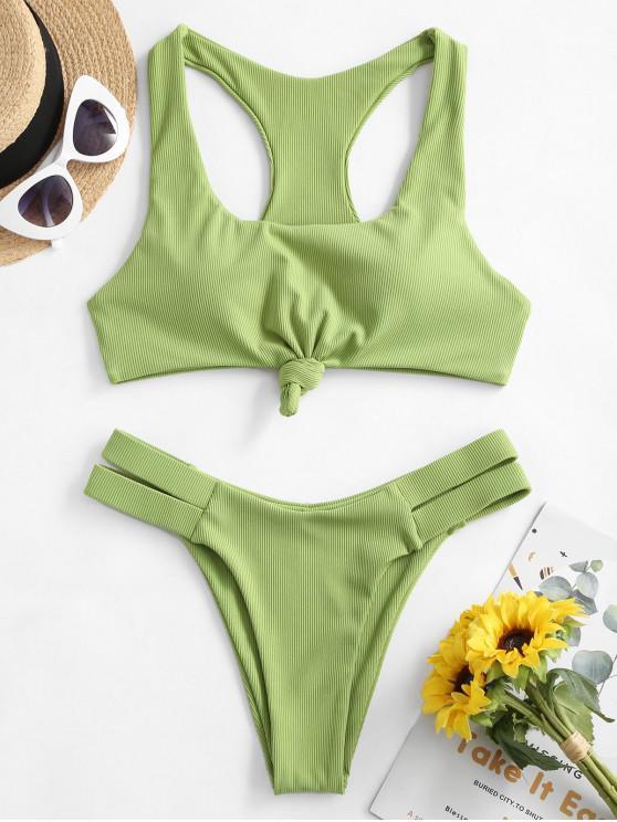 trendy ZAFUL Knot Ribbed Racerback Bikini Swimsuit - GREEN SNAKE S
